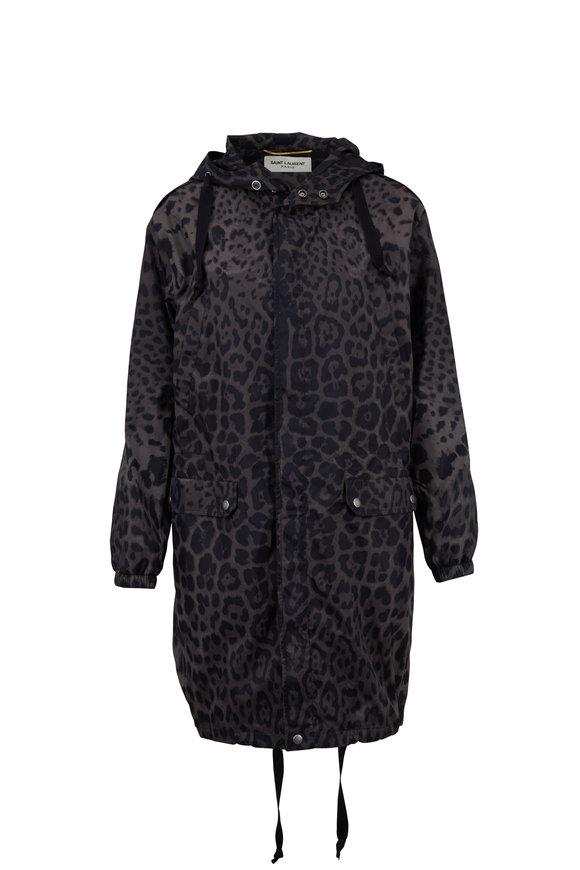 Saint Laurent Leopard Military Print Nylon Hooded Jacket