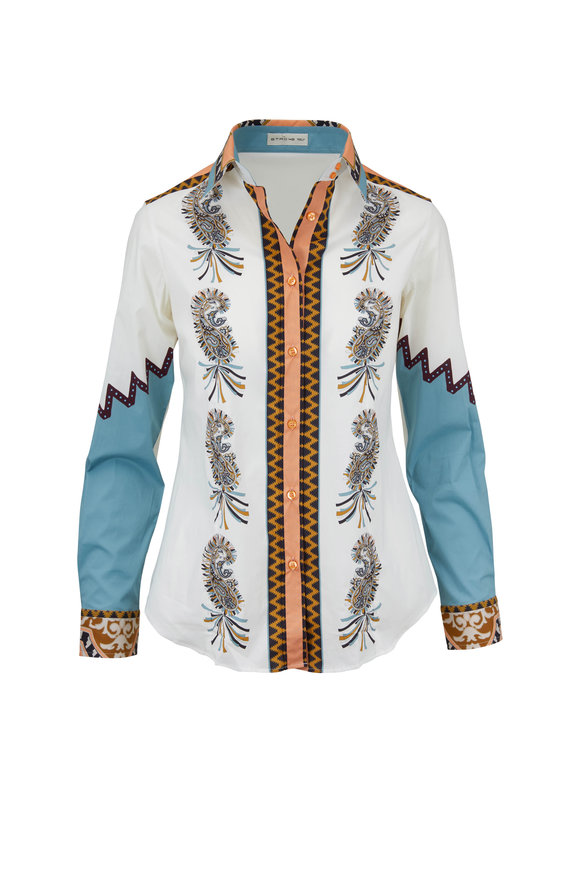 Etro White Stretch Cotton Printed Button Down Shirt