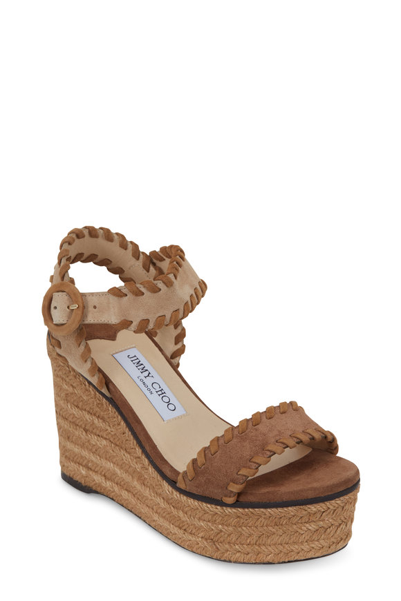 Jimmy Choo Abigail Natural Suede Raffia Wedge Sandal, 100mm