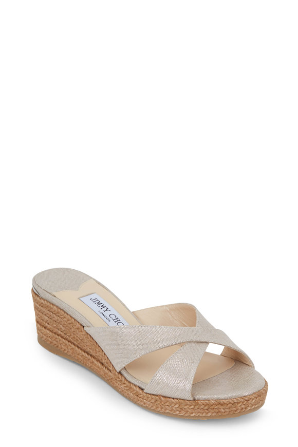 Jimmy Choo Almer Natural Metallic Linen Wedge Slide, 50mm