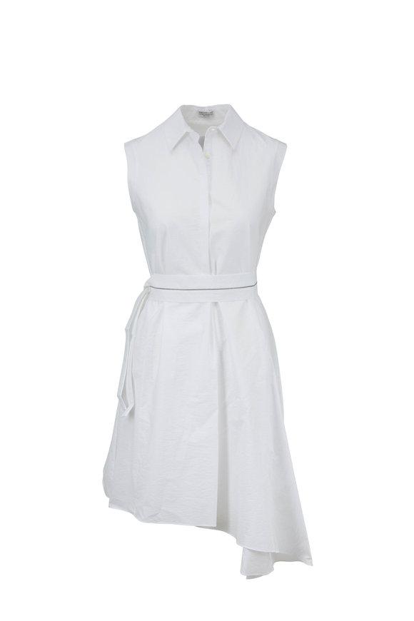 Brunello Cucinelli Exclusive White Cotton & Nylon Monili-Belted Dress