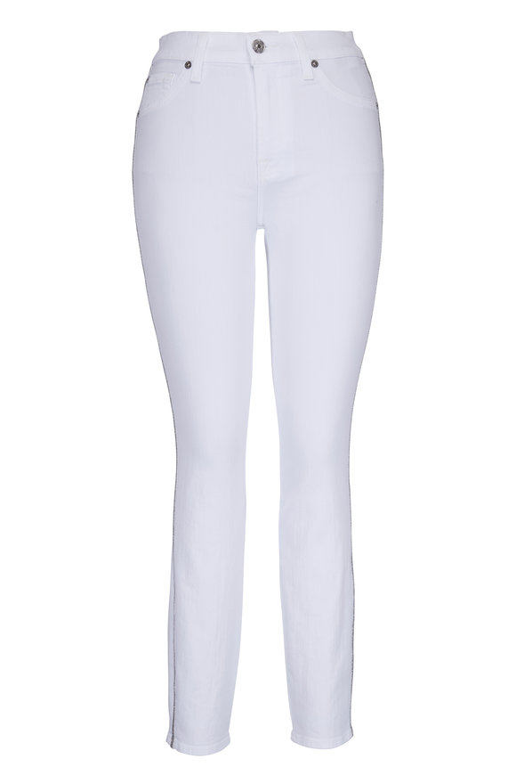 7 For All Mankind White & Silver Trim High Waist Skinny Jean