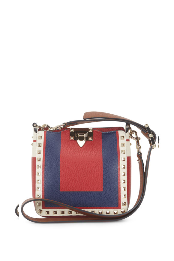 Valentino Garavani Rockstud Red & Ivory & Blue Mini Hobo Crossbody