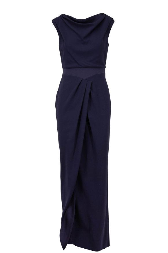 Paule Ka Navy Blue Draped Neck Cap Sleeve Gown
