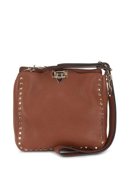 Valentino Garavani - Rockstud Cognac Leather Small Hobo Crossbody