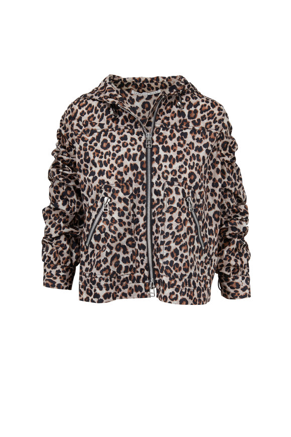 Veronica Beard Sibila Leopard Hooded Short Anorak