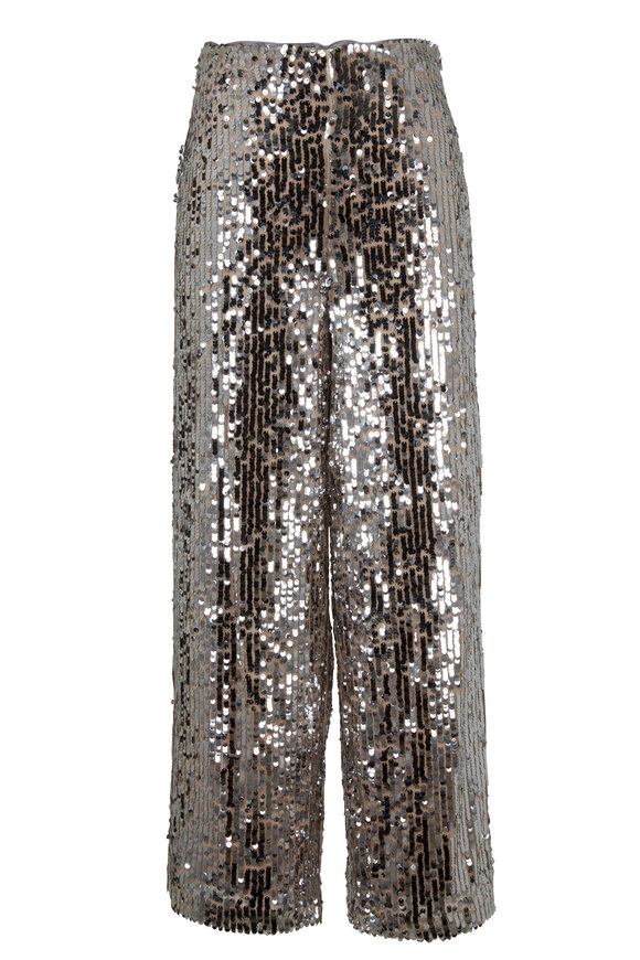 Veronica Beard Gunnel Silver Sequin Culottes