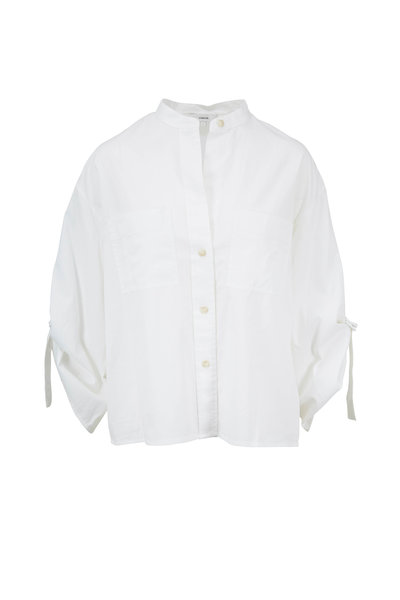 Vince - Optic White Utility D-Ring Sleeve Blouse