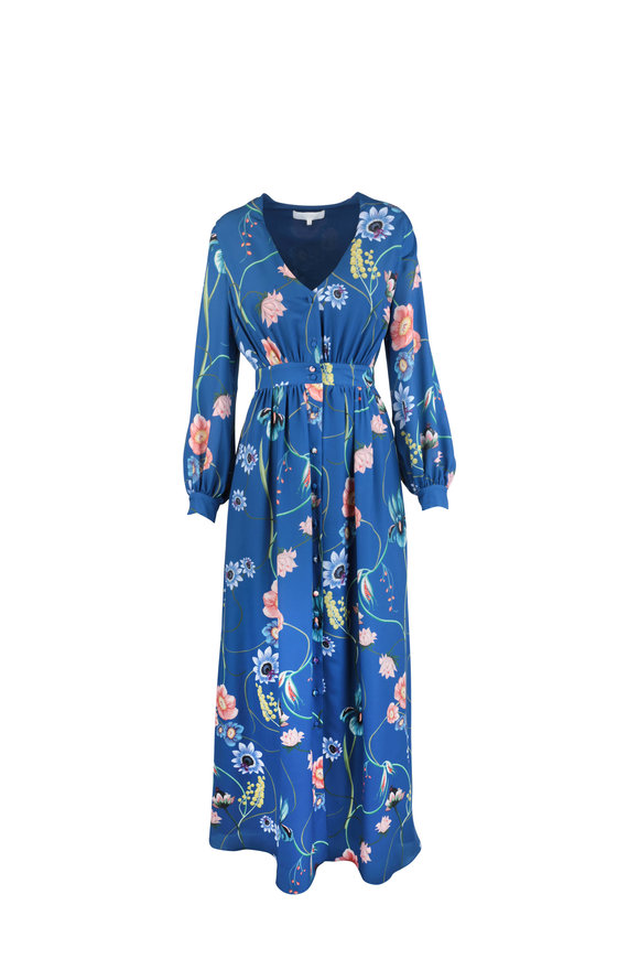 Borgo De Nor Francesca Blue Vintage Floral Maxi Dress