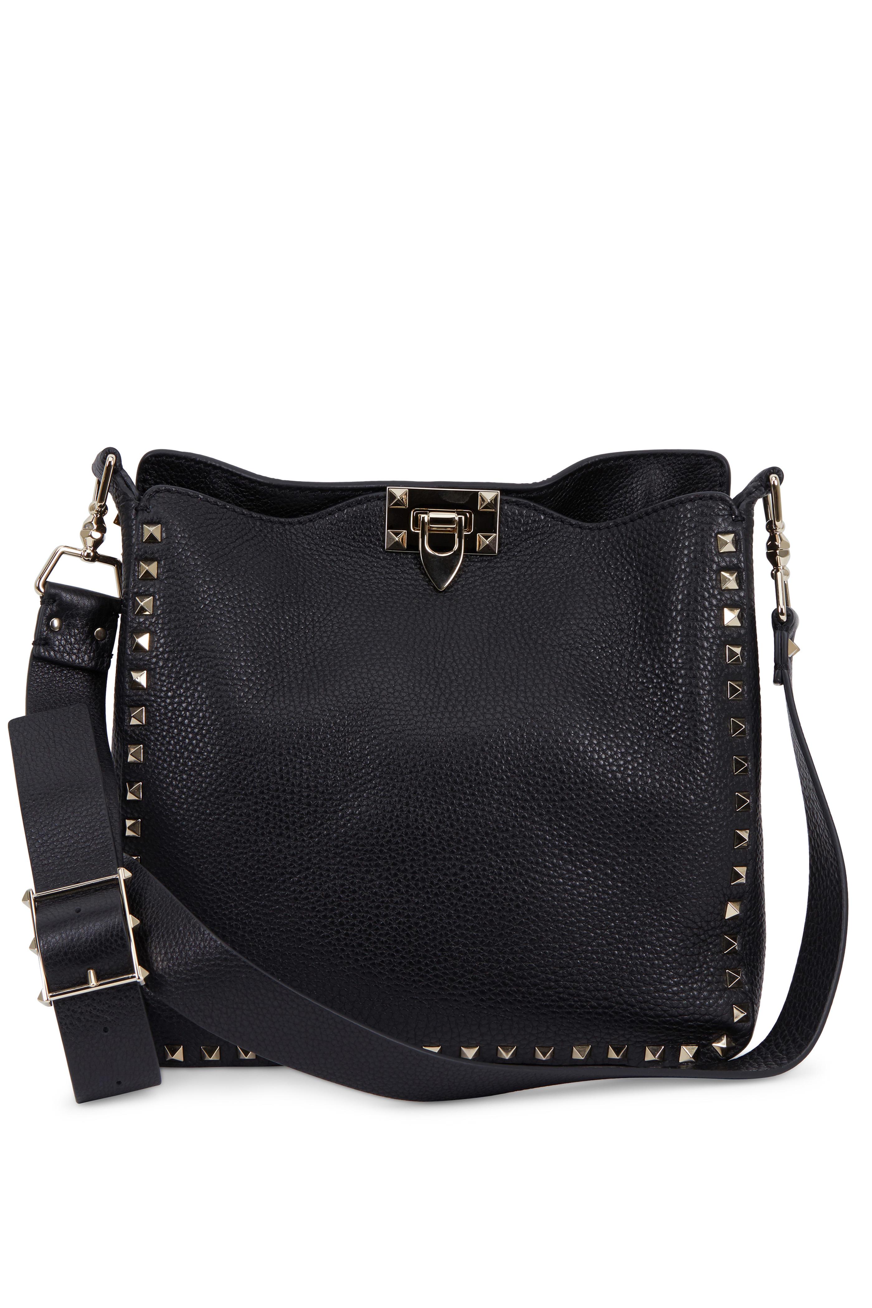 Valentino Garavani - Rockstud Black Leather Small Hobo Crossbody ... e9a5f9b841a6f