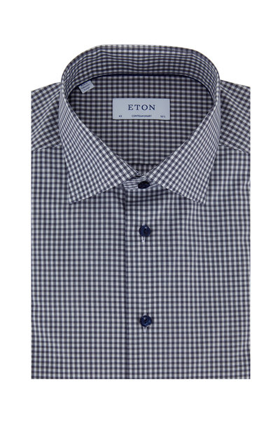 Eton - Navy Blue Check Contemporary Fit Dress Shirt