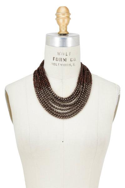 Brunello Cucinelli - Brown Wood & Hematite Chunky Multi Strand Necklace
