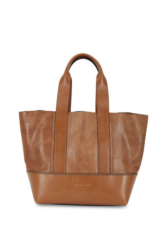Brunello Cucinelli Caramel Shimmer Suede & Leather Tote