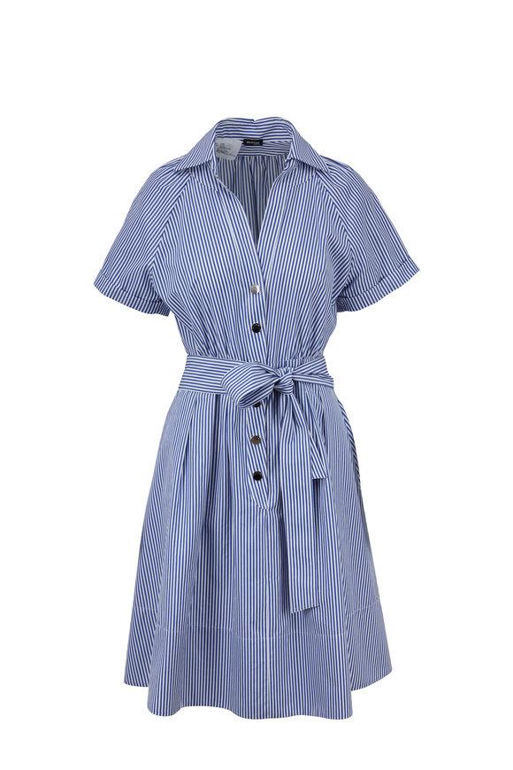 Kiton Blue & White Striped Cotton Belted Dress