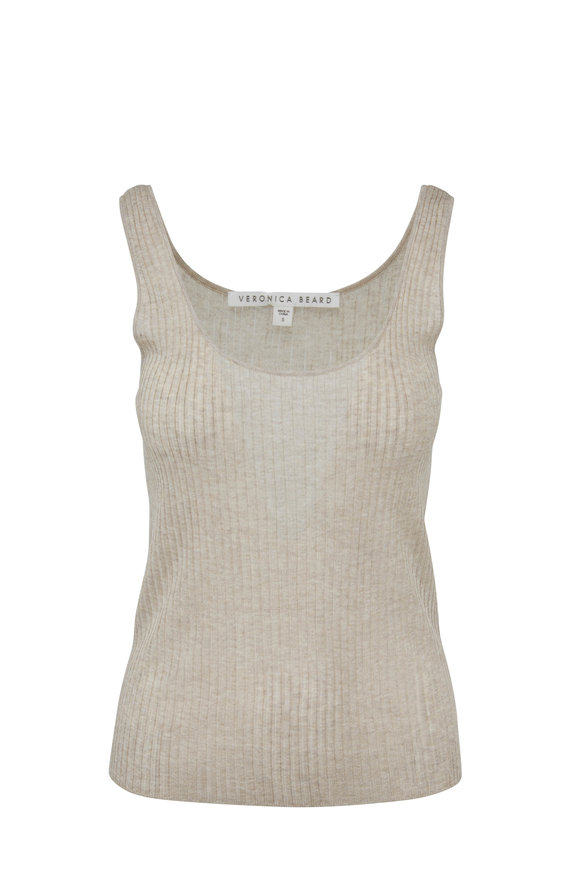 Veronica Beard Bowery Gold Ribbed Knit Tank Top