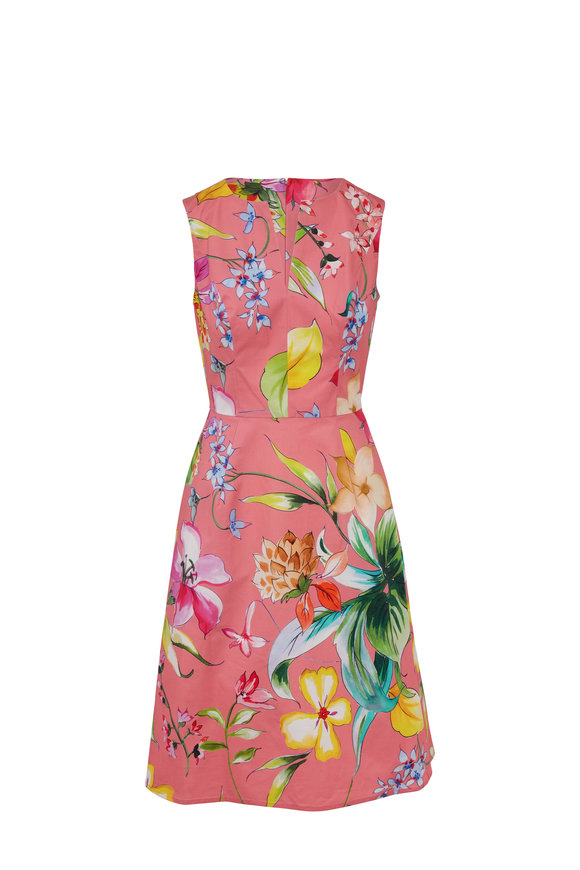 Carolina Herrera Coral Stretch Cotton Floral A-Line Dress