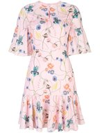 Borgo De Nor - Alba Pink Vintage Flower Printed Ruffle Dress