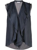 Brunello Cucinelli - Midnight Silk Sleeveless Ruffle Front Top