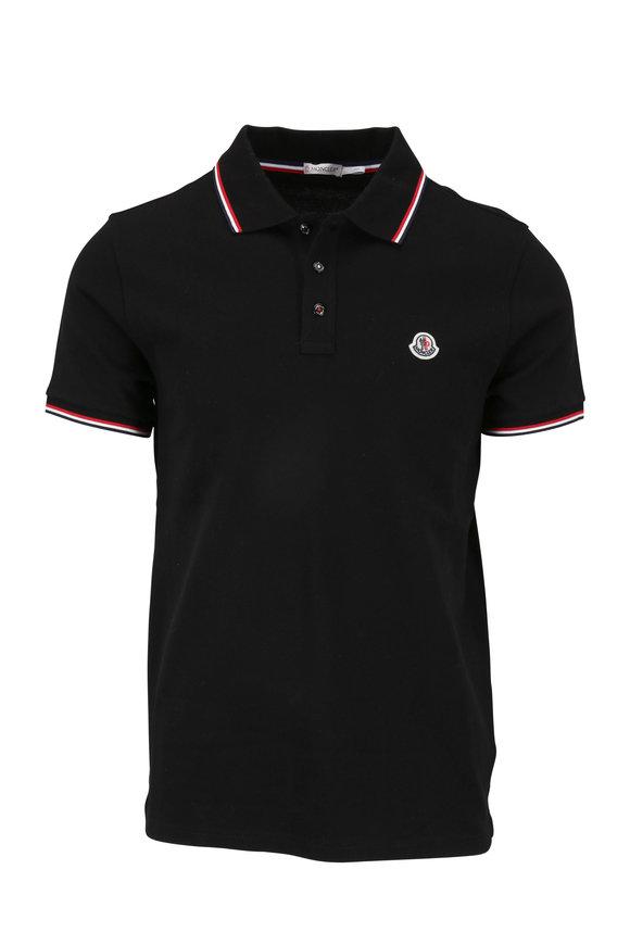 Moncler Black Cotton Logo Polo