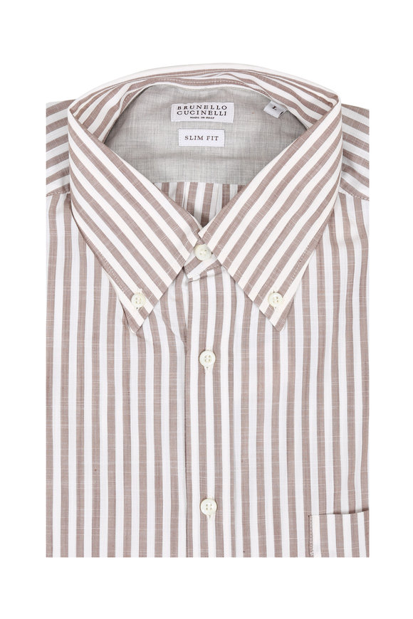 Brunello Cucinelli Brown Striped Slim Fit Sport Shirt