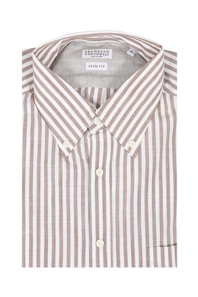 Brunello Cucinelli - Brown Striped Slim Fit Sport Shirt