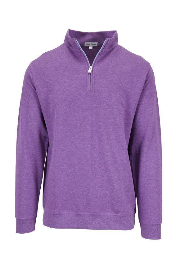 Peter Millar Purple Interlock Quarter-Zip Pullover