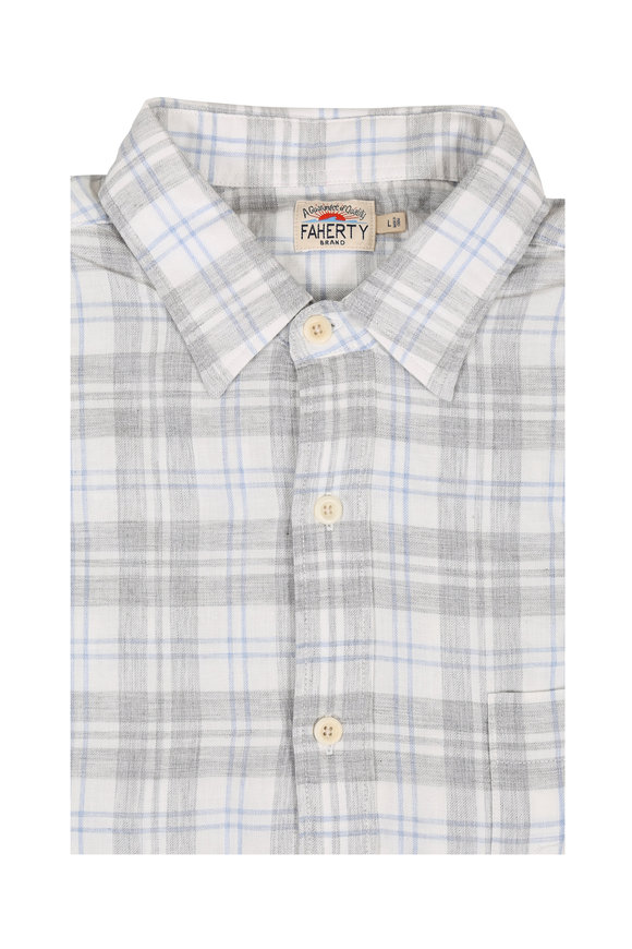 Faherty Brand Seaview Gray & Cream Plaid Sport Shirt