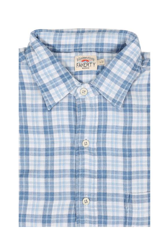 Faherty Brand Indigo Plaid Cotton Sport Shirt