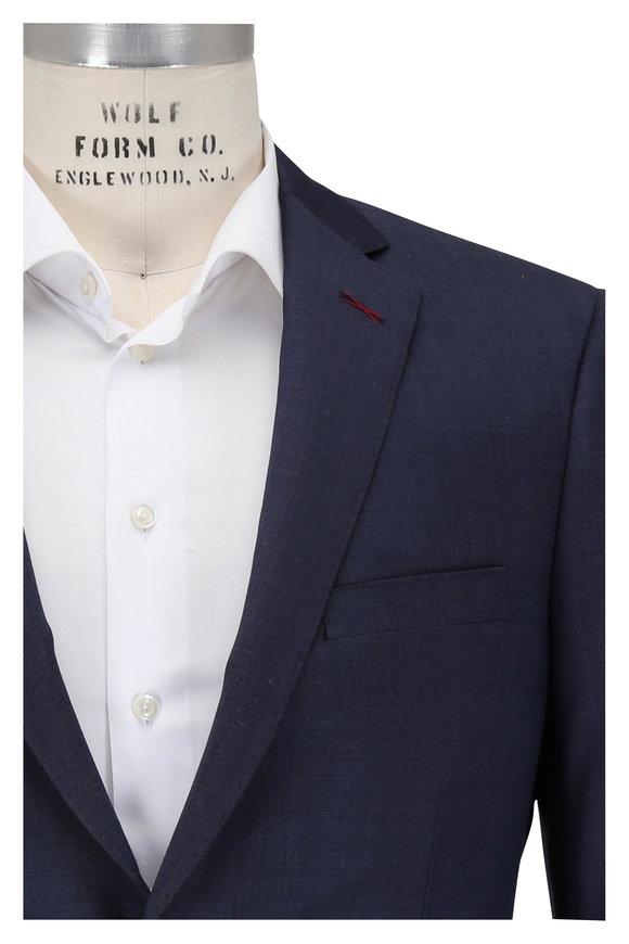 Samuelsohn Marco Navy Blue Micro Tic Wool Suit