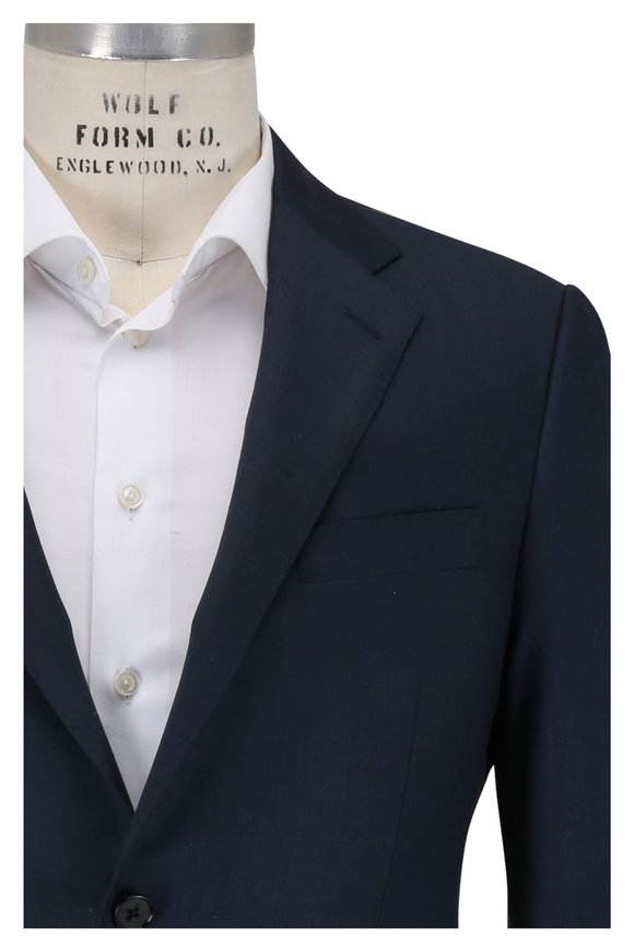 Hickey Freeman Solid Navy Worsted Wool Suit