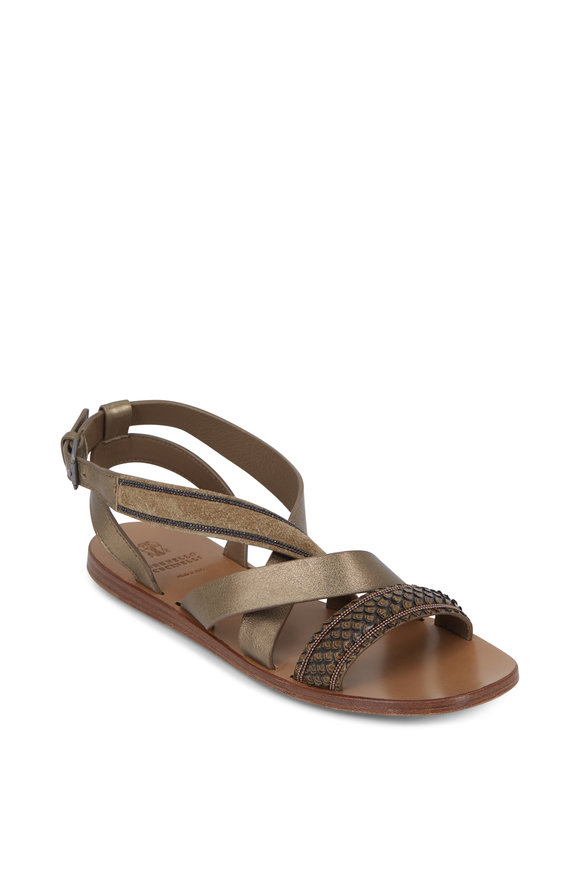 Brunello Cucinelli Olive Mix-Media Criss-Cross Flat Sandal