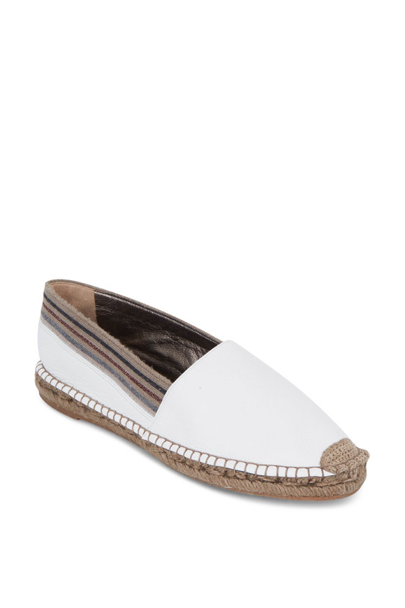Brunello Cucinelli White Pebbled Leather Stripe Inset Espadarille