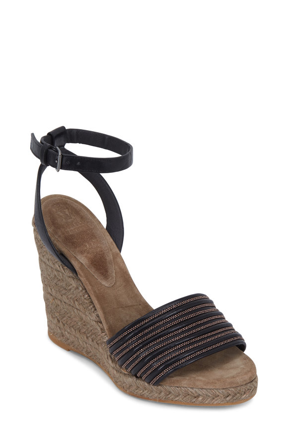 Brunello Cucinelli Black Leather Monili Espadrille Wedge, 100mm