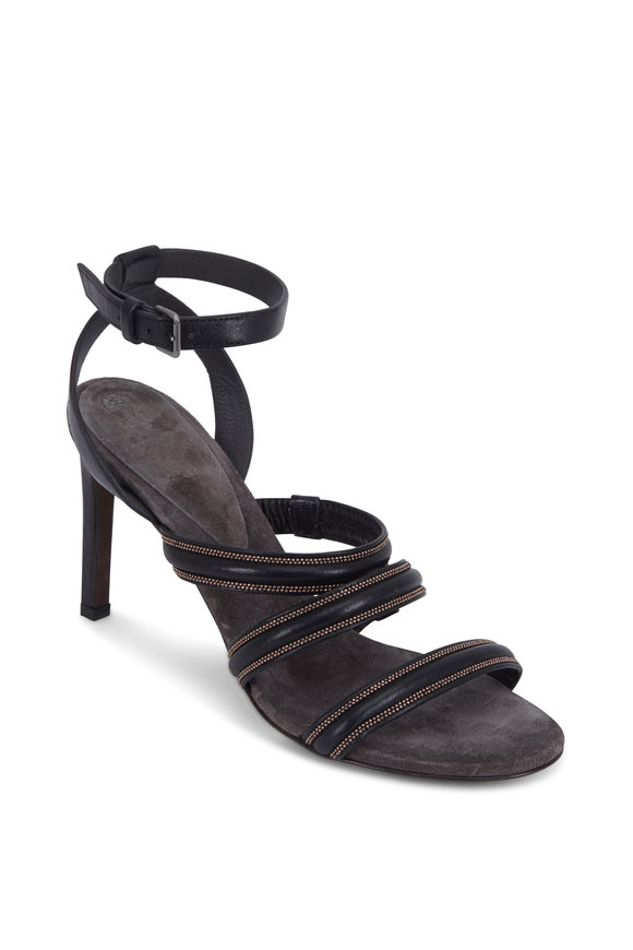 Brunello Cucinelli Black Leather Three Monili Band Sandal, 80mm