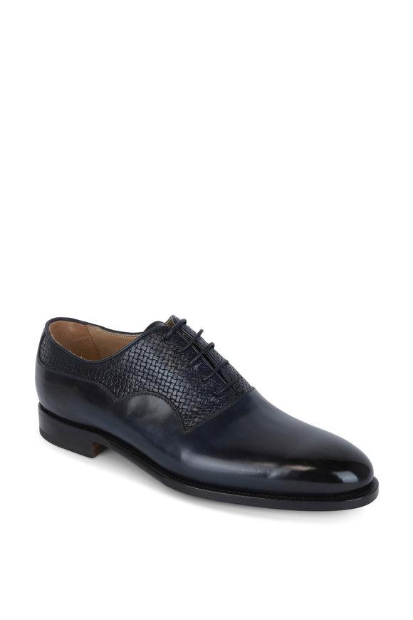 Kiton Dark Blue Leather Oxford Dress Shoe
