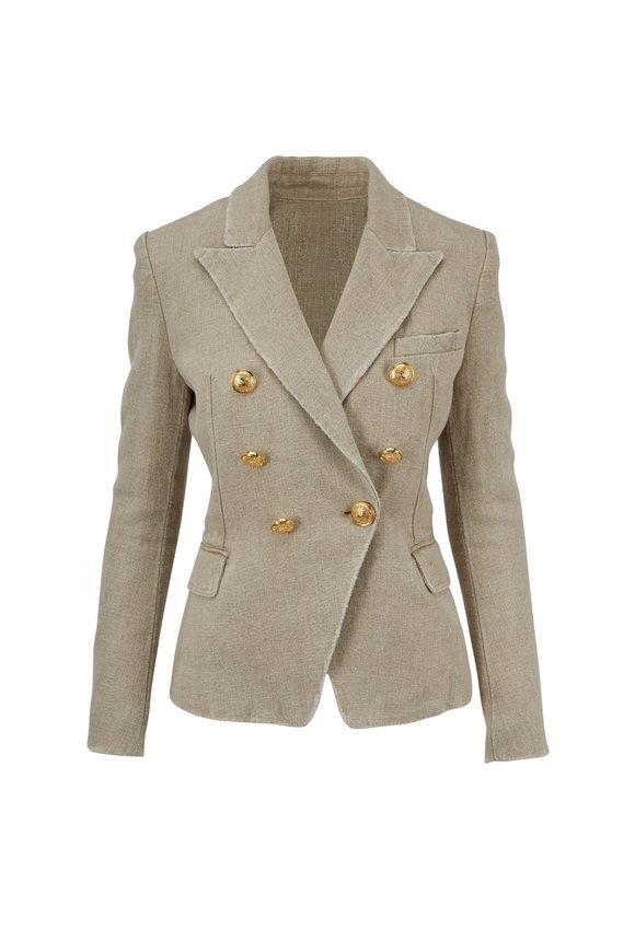 Balmain Natural Washed Jute Double-Breasted Jacket