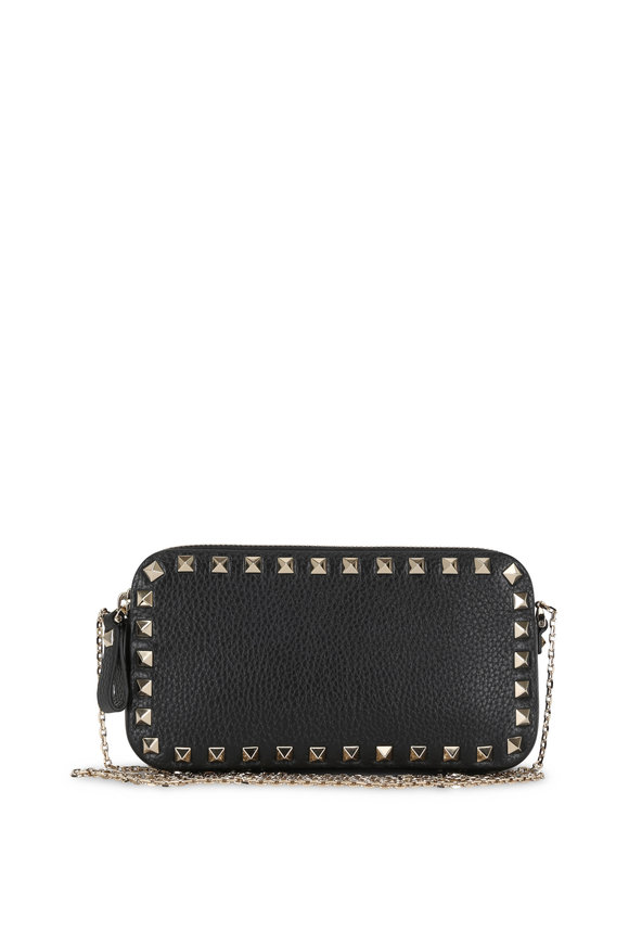 Valentino Garavani Rockstud Black Double-Pouch Chain Crossbody Bag
