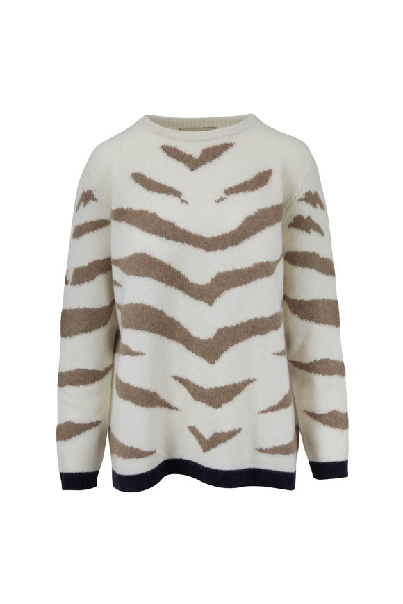 Jumper 1234 Cream Cashmere Contrast Tiger Crewneck Sweater