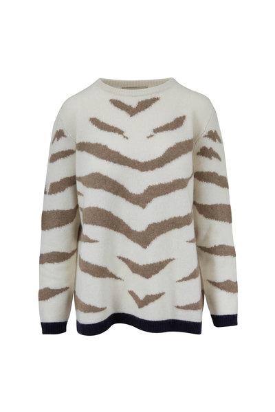 Jumper 1234 - Cream Cashmere Contrast Tiger Crewneck Sweater