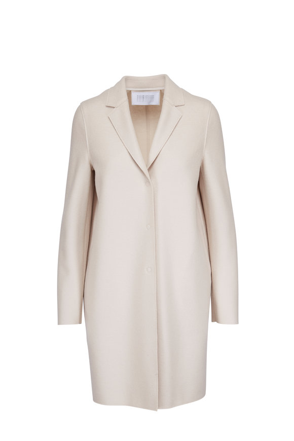 Harris Wharf Cream Wool Single Breasted Cocoon Coat
