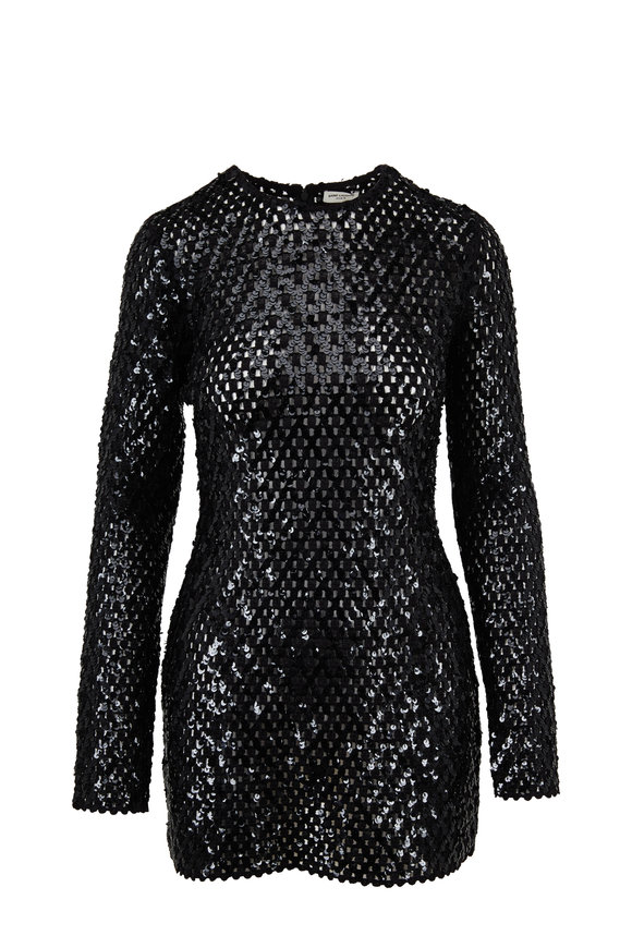 Saint Laurent Black Sequin Embroidered Mini Dress
