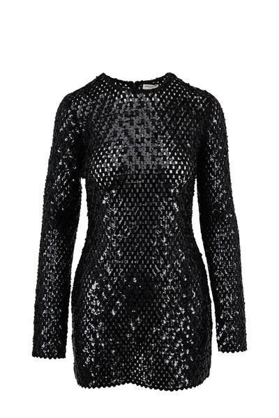 Saint Laurent - Black Sequin Embroidered Mini Dress