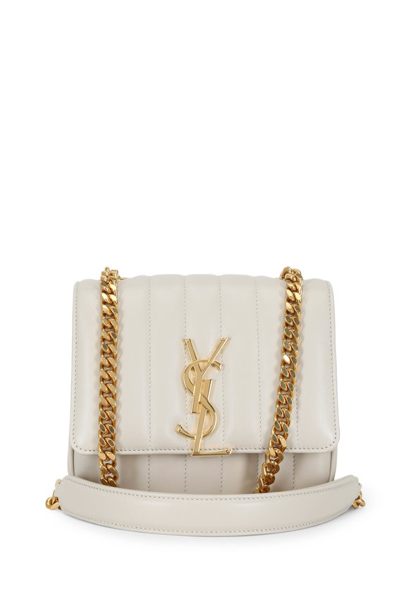 Saint Laurent Vicky Vintage White Quilted Small Crossbody