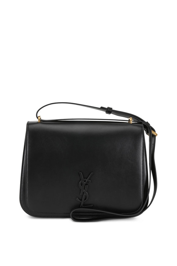 Saint Laurent Spontini Black Leather Medium Satchel