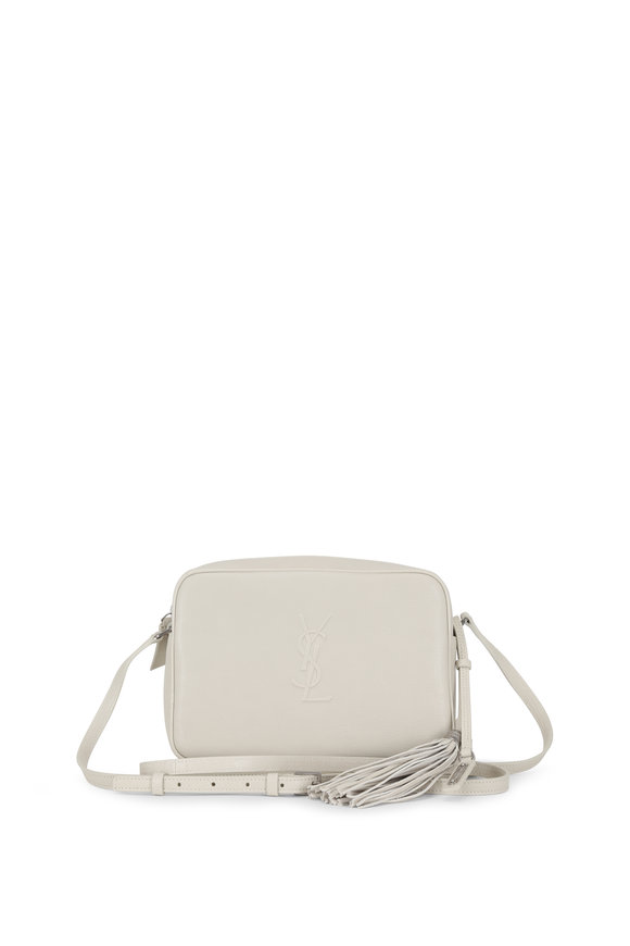Saint Laurent Lou Monogram White Leather Tassel Crossbody