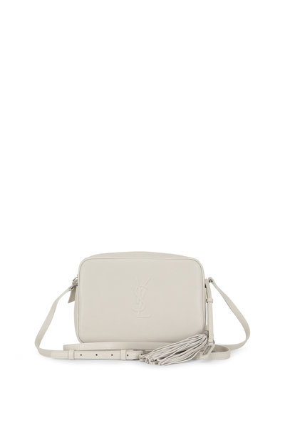Saint Laurent - Lou Monogram White Leather Tassel Crossbody