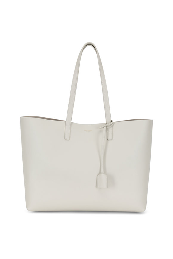 Saint Laurent Vintage White Leather Large Shopper Tote