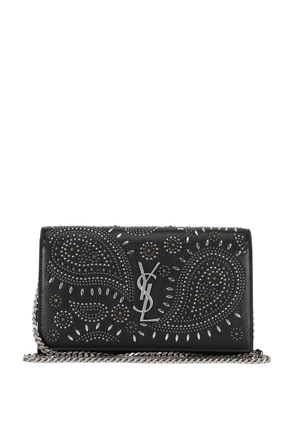 Saint Laurent Kate Black Vintage Leather Studded Chain Wallet