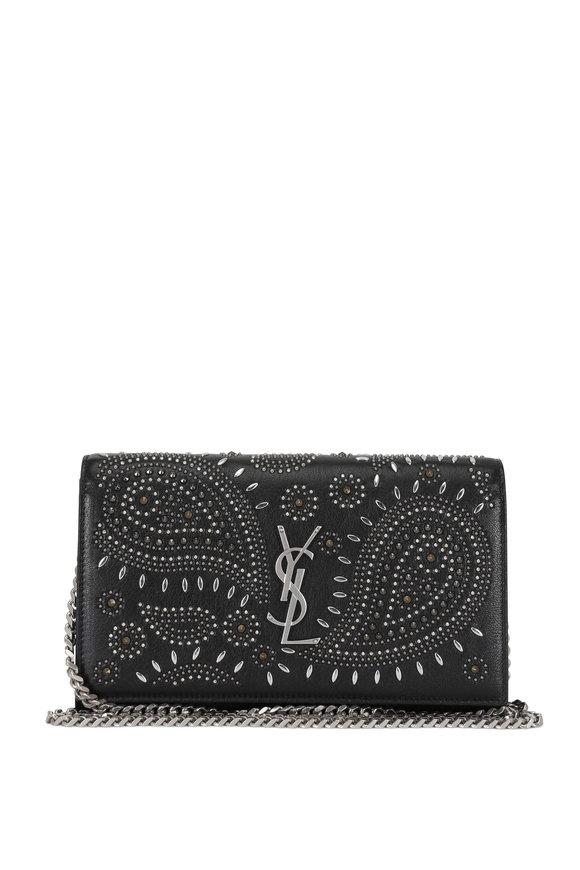 Saint Laurent Kate Black Vintage Leather Studded Chain Wallet