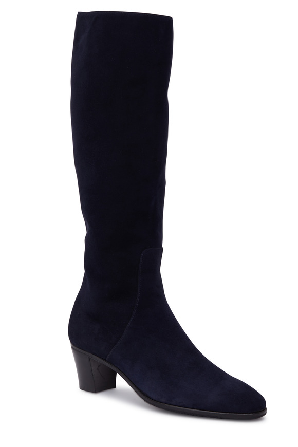 Gravati Navy Blue Suede Tall Boot, 50mm